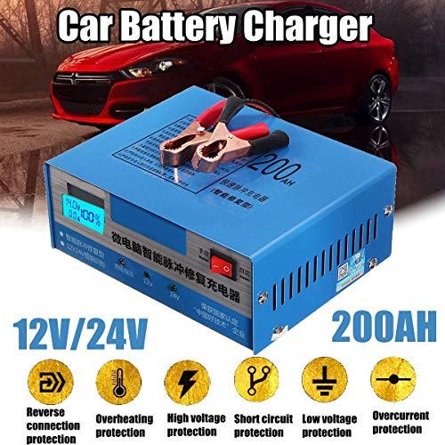ZUEN Riparazione Intelligente Automatica del caricabatteria per Auto 130V-250V 200AH 12 / 24V con Adattatore,EU