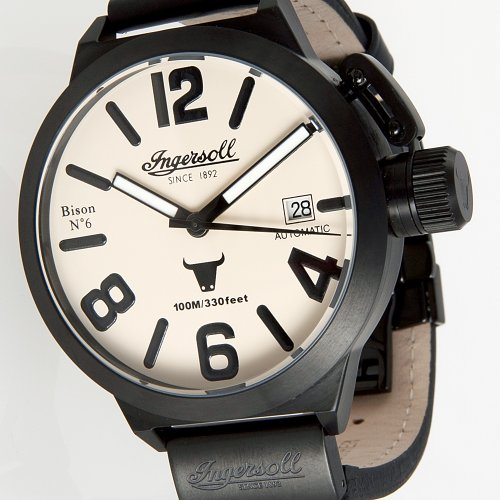 Ingersoll Herren-Armbanduhr XL Bison No. 6 AnalogAutomatik Leder IN8900BCR