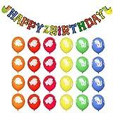 Unomor Dinosaur Balloons 24PCS with Dinosaur Banner for Dinosaur Party Supplies and Dinosaur Party Decorations