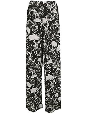 Islander Fashions Womens Printed Palazzo Trouser Ladies Tallas grandes Pantalones de pierna ancha S / XXXL