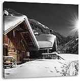 wunderschöne verschneite Alpenhütten schwarz/weiß, Format: 40x40 auf Leinwand, XXL riesige Bilder fertig gerahmt mit Keilrahmen, Kunstdruck auf Wandbild mit Rahmen, günstiger als Gemälde oder Ölbild, kein Poster oder Plakat