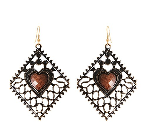 Arittra Antique Design Heart Shape Earring Jalli Brown Colour ethnic\traditional\tribal\ statement \party style Necklace Set for women and girls-Valentine gift,todays ... ...  available at amazon for Rs.110