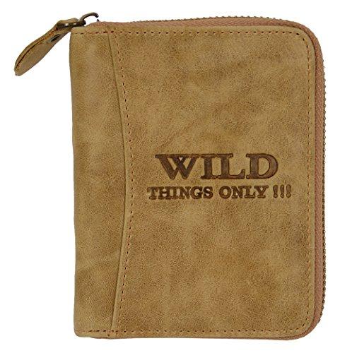 Leder Geldbörse Portemonnaie aus Echtleder Brieftasche Geldbeutel mit umlaufendem Reißverschluss Hellbraun beige - Natur 5508bg