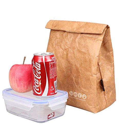 Wiederverwendbare, braune Papiertüte für Lebensmittel, Brotdosen, isoliert, Bento, Kühler mit Klettverschluss, stilvoll, umweltfreundlich, für Schule, Büro, Picknick, 6 l