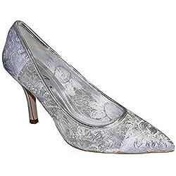 SAPPHIRE Damen Pumps Niedriger Absatz Spitz Blumen Spitze Optik Silber Schuhe - Silber, Spitze, 37