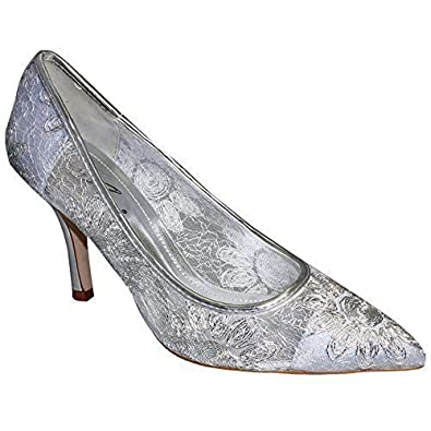 Ladies Pointed Toe Low Heel Floral Lace Effect Women's Silver ...