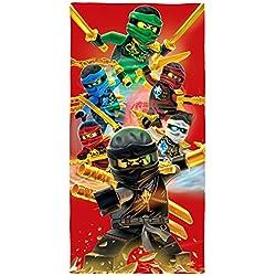 LEGO Ninjago Toalla de playa, diseño «Champion Fire», 70cm x 140cm, de velur, 100% algodón