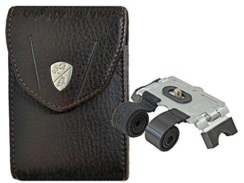 Foto Kamera Tasche LAMBORGHINI Leder mit Stativ für Fahrradlenker etc. für Sony WX500 WX350 WX220 Canon Ixus 170 160 175 180 275