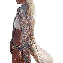 Cárdigans para Mujer Florales Cárdigan Kimono Mujer Verano Otoño Largo de Gasa Suelta Chales Wraps Tops Outerwear Jersey Camisola (Verde, M)