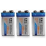 EBL EBL 280mAh 9 Volt Ni-MH Rechargeable 9V Batteries 3 Pack