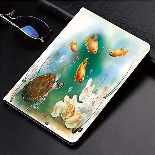 Kompatibel mit 3D-gedruckter iPad 9.7-Hülle,Turtle, Artistic Ocean Life Illustration Aquarium Goldfische,Leichtes Anti-Scratch-Shell Auto Sleep/Wake,Rückseite Schutzabdeckung iPad9.7