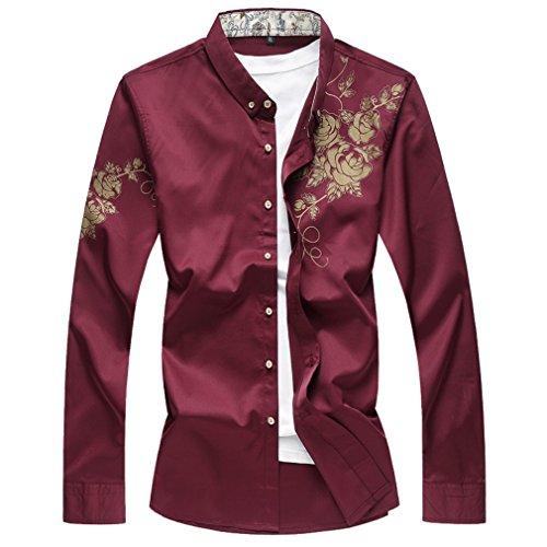Honghu Herren Freizeit Modern Fit Stretch Langarm Stehkragen Hemden Rot