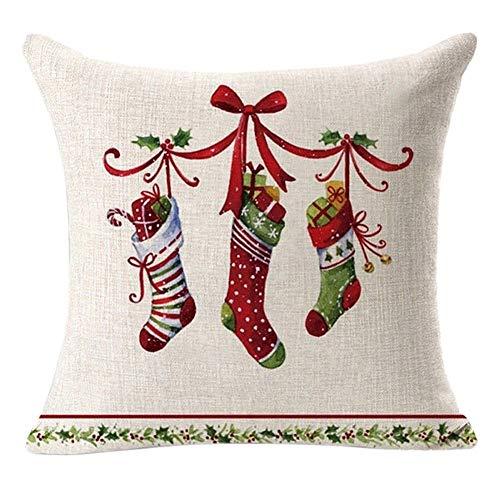 Yibenwanligod federa con cerniera, federa natalizia a doppia faccia federa in lino per decorazioni decorative per feste domestiche stile 2