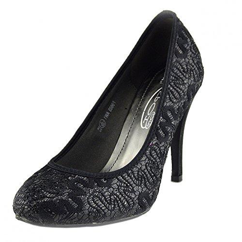Kick Footwear - Donna Classic Corte Glitter Shoes Womens Partito Abito Da Sposa Tacchi Alti Nero