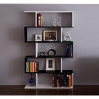 HOMIDEA CORE Bibliothèque - Étagère de Rangement - Étagère pour livres - Étagère pour bureau/salon par le design moderne (Blanc/Noir)