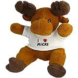 Reno de peluche (Rudolf) con Amo Micki en la camiseta (nombre de pila/apellido/apodo)