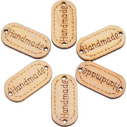 200 Piezas de Etiqueta de Madera de Handmade Botones de Madera Etiqueta Hecho a Mano Oval con 2 Agujeros para Artesanía Costura Decoración, Incluye Bolsa de Almacenaje de Terciopelo