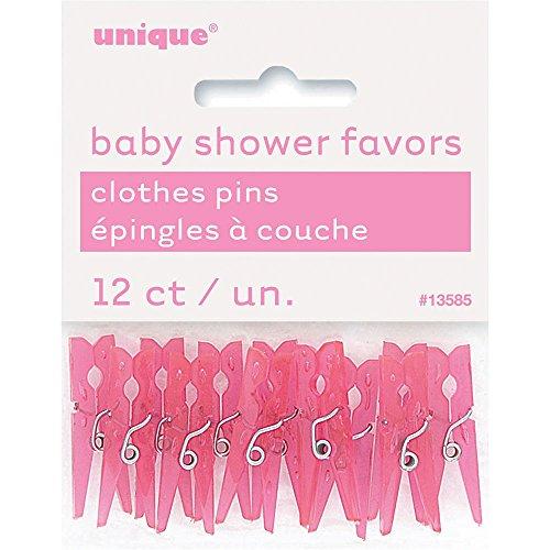 Kunststoff-Wäscheklammern für Babyshower, Pink, 12Stück