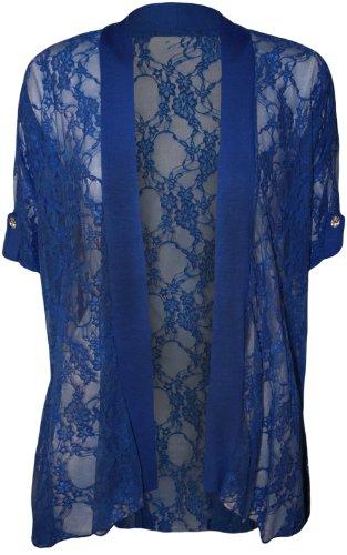 4 weniger neue Übergröße Fashion Damen Spitzen Short Sleeve Damen Offene Strickjacke 14-26 Blau - Königsblau