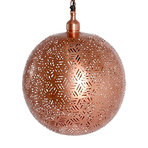 Emporio Arts EMPORIO Lumières marocain fait main antique lamp-ball à suspendre en Hexa Etching, fer, cuivre, E27, 40 Watts