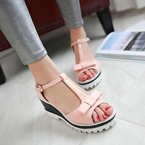 Aisun Damen Schleife T-Spange Offene Zehe Durchgängiges Plateau Sandale Pink