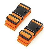 CSTOM 2 Stück Koffergurt Gepäckgurt Koffer Kofferbänder Lang - Orange
