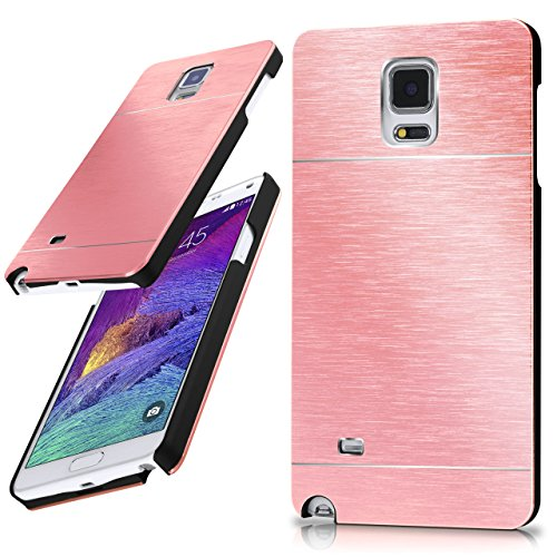 moex Samsung Galaxy Note 4 | Hülle Dünn Rosé-Gold Aluminium Back-Cover Schutz Handytasche Ultra-Slim Handy-Hülle für Samsung Galaxy Note 4 Case Metall Schutzhülle Alu Hard-Case Aluminium Hard Case