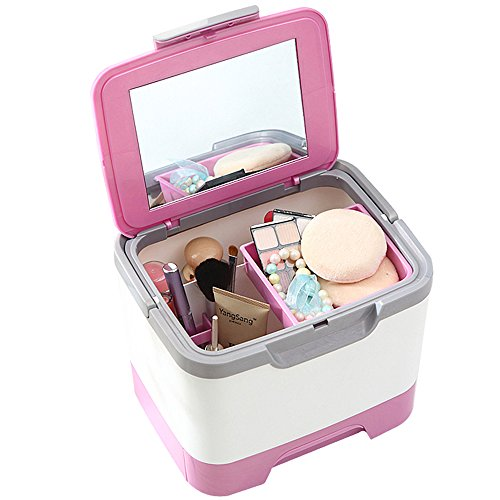 QQIBABY Schmuck Box Desktop Große Spiegel mit Mehreren Schichten von Kosmetik, Schmuck Box, Box Kosmetik Box Tool Box mit Schubladen (Schubladen Tool Box)