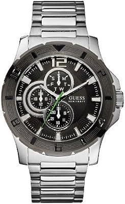 Guess - Reloj de Cuarzo para Hombre, con Correa de Acero Inoxidable, Color Plateado