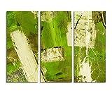130x90 cm 3-teiliges Abstraktes Leinwandbild Fotoleinwand grün beige braun Balken! bestforhome der Partner für schöne Kunst!