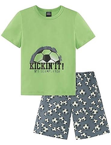 Schiesser Jungen Zweiteiliger Fussball Knaben Schlafanzug Kurz, Grün (Grasgrün 706), 104