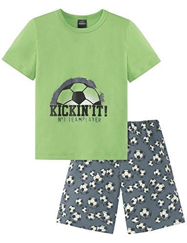 Schiesser Jungen Fussball Knaben kurz Zweiteiliger Schlafanzug, Grün (Grasgrün 706), 104