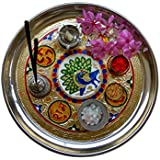 PROGALLERY Decorative, Simple, Attractive Aluminium Pooja Thali For Every Occasion/Festival For Home Or Gift (24 Cm Diameter)
