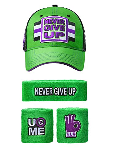 7253f10f John Cena WWE Never Give Up Green Purple Baseball Hat Headband Wristband Set