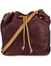 Rohit Bal Cherry Brown Leather Drawstring Bag for Women
