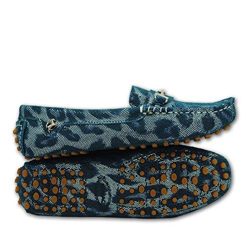 Minitoo yb960–15da donna comoda Slip-on scarpe in pelle scamosciata Mocassino Loafer Green Snake-print