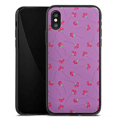 Apple iPhone X Silikon Hülle Case Schutzhülle Rosen Blumen Muster Silikon Case schwarz