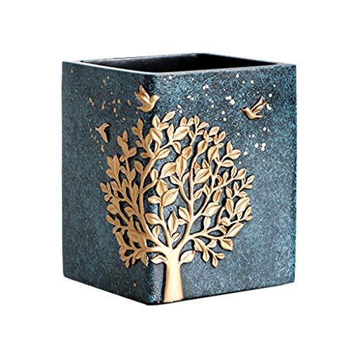 Blue Square Vasen (Stifthalter Stilvoller, minimalistischer Kreative Schreibtischzubehör Aufbewahrungsbox for studentische Schreibwaren (Color : Dark Blue, Size : Square))