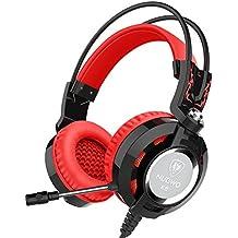 Cuffie Nubwo K6 sopra l'orecchio stereo di gioco cuffia con microfono Audiophile livello delle cuffie stereo con USB 2.0 (spie di alimentazione solo LED) +2 X 3,5 mm Connettori 2 Metri cavo Miglior bassi rinforzati (Nero/Rosso)