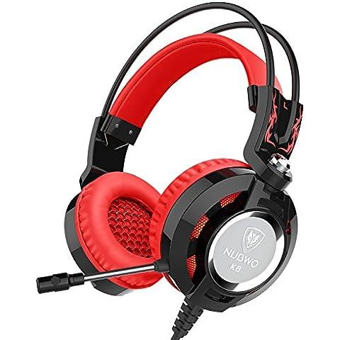 Auriculares, Nubwo K6 sobre el oído estéreo del juego de auriculares con micrófono, Audiófilo Nivel auriculares estéreo con USB 2.0 (potencia de las luces LED sólo) 2 X 3,5 mm Conectores de cable 2 metros Mejor realzó (Negro/Rojo)