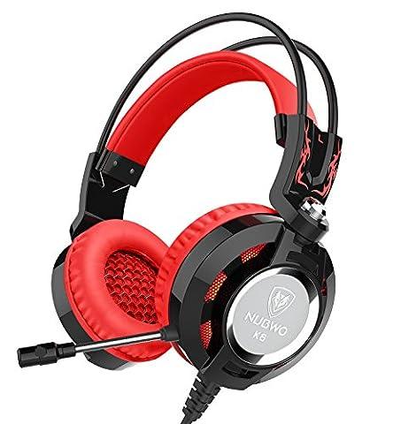 Nubwo K6 Stereo Gaming Kopfhörer Headset mit Mikrofon Bester Enhanced Bass Audiophil Stereo Kopfhörer 2 Meter lang Audiokabel mit Ein USB 2.0 und Zwei 3,5 mm Anschlüssen (Schwarz/Rote)