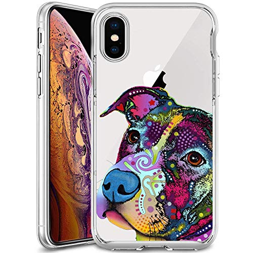 iPhone XS Transparente Hülle, Sugar Skull Soft Crystal Ultra Thin Shock Absorption Schutzhülle für iPhone XS, iPhone XS Max, Pitbull Thin Crystal