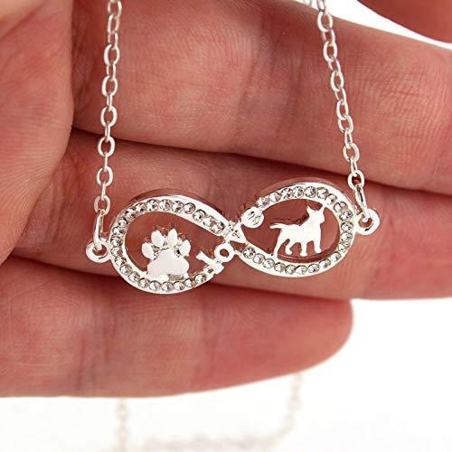 GMZTT Halskette High-end Temperament Halskette Acht Form Liebe Hund Und Paw Claw Anhänger Halskette Zwei Farben Hundehalsketten 40 cm Silber Überzogene