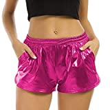 Pailletten Shorts Luckycat Shorts Damen Sommer Locker Hohe Taille Einfarbige Tasche Leder Shorts Hose Sommerhosen Pants Hosen (Rose rot, Medium)