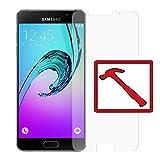 Slabo PREMIUM Film protection d'écran en verre trempé pour Samsung Galaxy A5 (2016) A510F NON A5 (SM-A500FU) protection écran film de protection (la taille des films est réduite à cause d'un écran bombé) 'Tempered Glass' CLAIR - Dureté 9H
