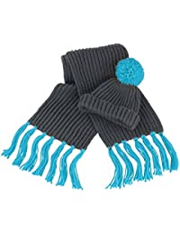 Result Unisex Winter Strickmütze und -Schal, Grobstrick, mit Bommel und Fransen