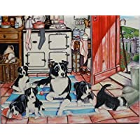 'Working Mum' by Tracy Hall, 11x14 inches Decorative Ceramic Picture Tile. Collie Dogs by Fiesta Studios - Puppy Dog Wall Plaque