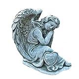 Steinfigur Engel mit Herz Angel Gartenfigur Grabengel Skulptur Grabschmuck Frostfrei massiver Steinguss