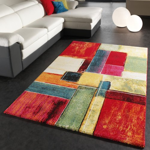Rug Modern Canvas Look Designer Carpet Colourful Checkered Cream ...