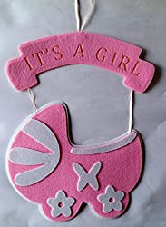 Its a Girl Baby Pram Hanging - Pink